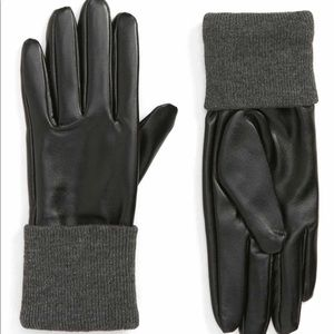 ACCESSORY Collective Knit Cuff Faux Leather Gloves